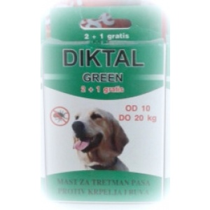 Diktal Green mast za tretman pasa protiv buva i krpelja 2+1 gratis od 10-20kg