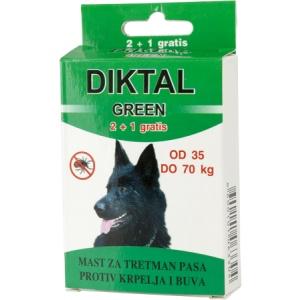 Diktal Green mast za tretman pasa protiv buva i krpelja 2+1 gratis od 35-70kg
